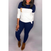 Lovely Casual Patchwork Dark Blue Two-piece Pants Set