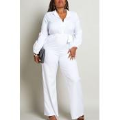 Lovely Work Turndown Collar White Plus Size One-piece Jumpsuit