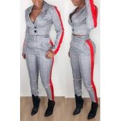 Lovely Work Turndown Collar Plaid Printed Grey Two-piece Pants Set