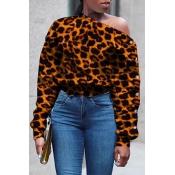 Lovely Casual Leopard Printed Sweatshirt Hoodie