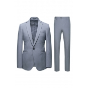 Lovely Trendy Turndown Collar Grey Two-piece Pants Set