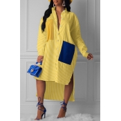 Lovely Casual Striped Yellow Knee Length ADress