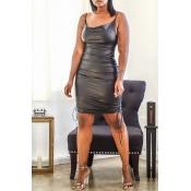Lovely Sexy Drawstring Black Knee Length Vest Dres