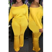 Lovely Trendy One Shoulder Yellow Plus Size One-pi