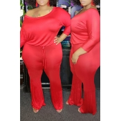 Lovely Trendy One Shoulder Red Plus Size One-piece