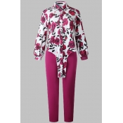 Lovely Casual Floral Printed Rose Red Plus Size Tw