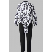 Lovely Casual Floral Printed Black Plus Size Two-p