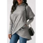 Lovely Work Hooded Collar Grey Blouse