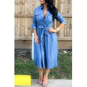 Lovely Casual Turndown Collar Lace-up Baby Blue Mi