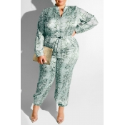 Lovely Casual Printed Green Plus Size One-piece Jumpsuit