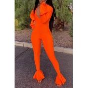 Lovely Casual Flounce Design Orange One-piece Jump