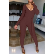 Lovely Polyester Casual Solid Regular Yes(Elastic) Jumpsuit