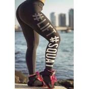Lovely Sportswear Letter Printed Black Leggings