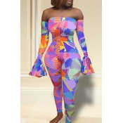 Lovely Casual Dew Shoulder Printed Blue One-piece