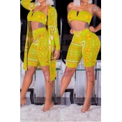 Lovely Trendy Printed Yellow Two-piece Shorts Set(