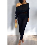Lovely Trendy Dew Shoulder Black Two-piece Pants Set