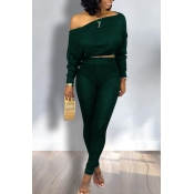 Lovely Trendy Dew Shoulder Green Two-piece Pants Set