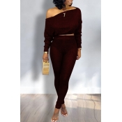 Lovely Trendy Dew Shoulder Wine Red Two-piece Pant