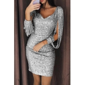Lovely Party Tassel Design Grey Mini Prom Dress