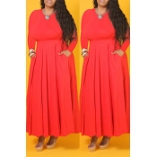 Lovely  Casual O Neck Ruffle Design Orange Ankle L