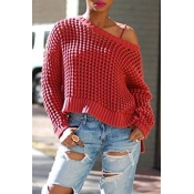 Lovely Casual Hollow-out Red Sweater