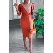 Lovely Sweet Patchwork Jacinth Knee Length Dress