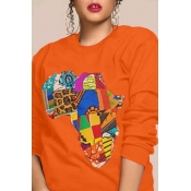 Lovely Casual Printed Orange Sweatshirt Hoodie