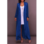 Lovely Casual Lace-upe Blue Trench Coat