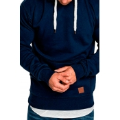 Lovely Casual Hooded Collar Pocket Patched Navy Bl
