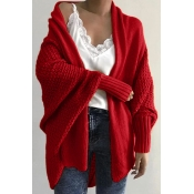 Lovely Batwing Sleeve Red Cardigan