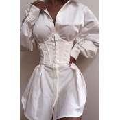 Lovely Casual Turndown Collar White Mini Dress(Wit