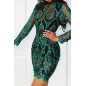 Lovely Sexy Patchwork Green Mini Dress