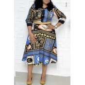 Lovely Casual Printed Blue Mid Calf Plus Size Dres