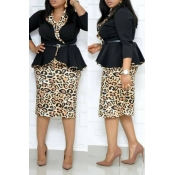 Lovely Trendy Basic Leopard Printed Black Plus Siz