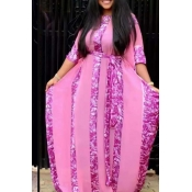 Lovely Casual Loose Pink Plus Size Two-piece Skirt Set(With Lining)