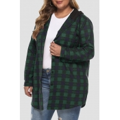 Lovely Casual Hooded Collar Plaid Printed Green Pl