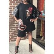 Lovely Casual Sequined Black Knee Length Dress