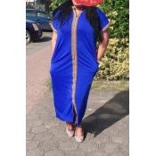Lovely Casual Mandarin Collar Blue Ankle Length Pl