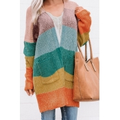 Lovely Color-lump Patchwork Multicolor Cardigans