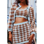 Lovely Trendy Plaid Printed Jacinth Two-piece Skir