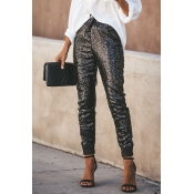 Lovely Casual Sequined Decorative Black Pants
