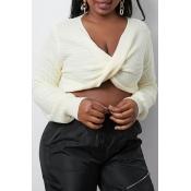 Lovely Trendy Cross-over Design Beige Sweater
