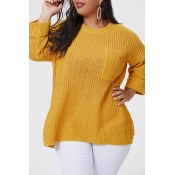 Lovely Casual O Neck Basic Yellow Plus Size Sweate