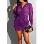 Lovely Casual V Neck Ruffle Design Purple Mini Dre