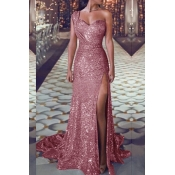 Lovely Trendy One Shoulder Sequined Pink Floor Len