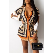 Lovely Casual Printed Multicolor Mini Shirt Dress(