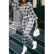 Lovely Casual Plaid Printed Black And White One-pi