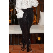 Lovely Chic Sequined Black Pants