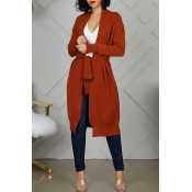 Lovely Trendy Lace-up Umber Cardigan