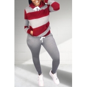 Lovely Casual Patchwork Grey Plus Size Two-piece Pants Set